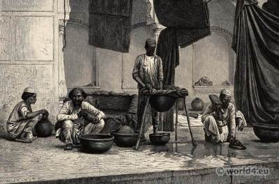 Dyers in Lucknow, Oudh. Indian Moghul costumes. Ancient India clothing.