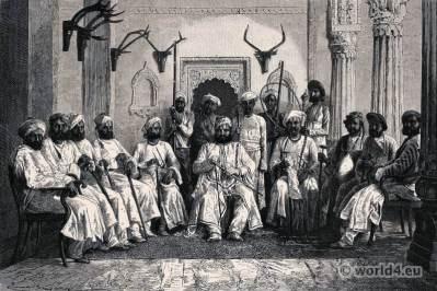 Darbar (reception) at the Rajah of Rewna, Central India. Indian Rajah Moghul costumes. Ancient India clothing.