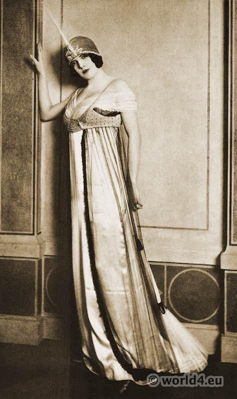 Paul Poiret - Paris 1912. Evening dress in white satin. Art-nouveau fashion.