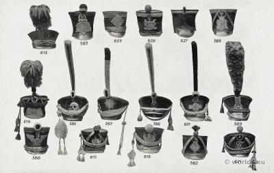 Shakos Napoleonic wars. Voltigeurs, Cavalry, Hussars, Artillery, Infantry, Grenadier, Officer, Fusilier, Flanqueur shakos. Battle of Waterloo. Tschakos.