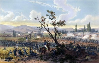 Battle of Churubusco. Mexican-American War. George Wilkins Kendall. Carl Nebel. Military Soldier Uniforms.