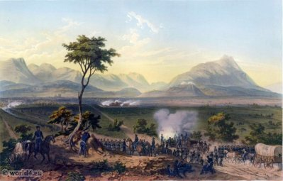 Capture of Monterrey. Mexican-American War. George Wilkins Kendall. Carl Nebel. Military Soldier Uniforms.
