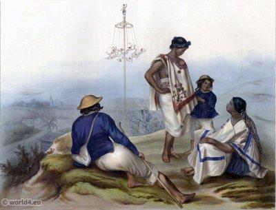 Indiens de la Cierra de Guauchinango. Traditional Mexican national costume. Rancheros clothing. Carl Nebel.