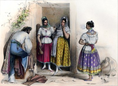 Traditional Mexican national costume. Poblanas. Carl Nebel. American Farmers and Peasants clothing