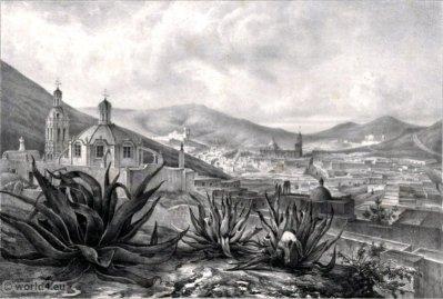 Veste General de Zacatecas. Mexican town. Topography. Carl Nebel.