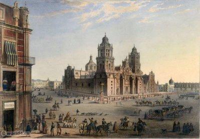 Vista de la Cathedral y de la Plaza Mayor de Mexico. Mexican town. Topography. Carl Nebel.