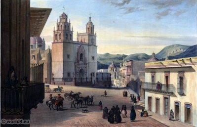 Place Mayor de Guanajuato. Mexican town. Topography. Carl Nebel. UNESCO World Heritage Site Vue sur la ville Historique de Guanajuato