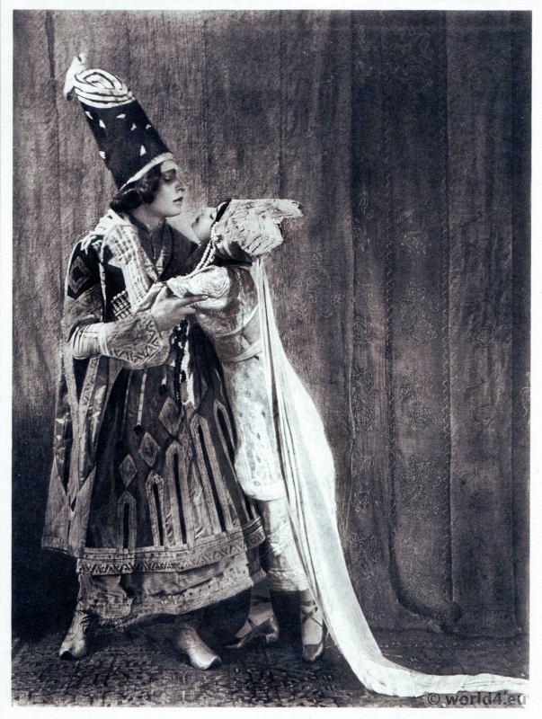 Adolf Bolm and Tamara Karsavina in Thamar Russian Ballet. Dance costume. Famous Opera