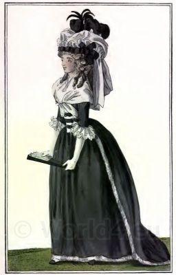 French Ancien Régime fashion. France Rococo Fashion Costume. Court dress
