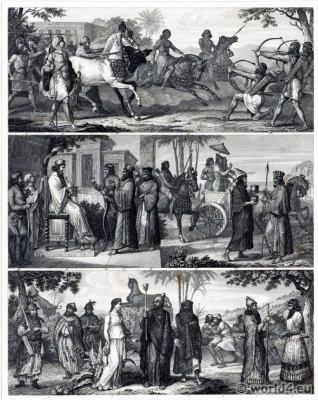 Ancient costumes. Persian army. Sumerian Ceremonials. Mesopotamia.