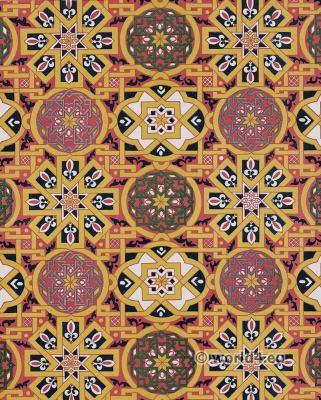 15th century Silk fabric Arabic Factory. Medieval textil design.