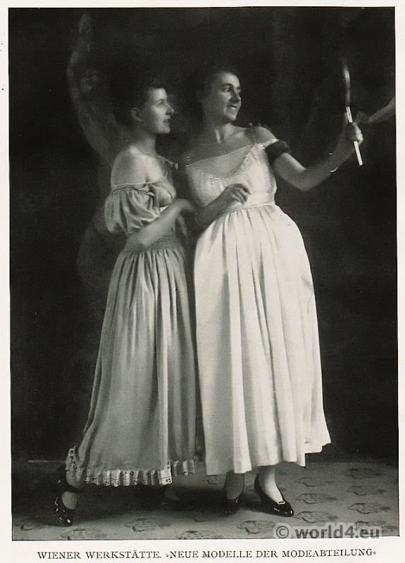 Costumes by Vienna Secession, Wiener Werkstätte, Vienna Workshops. Art nouveau fashion.
