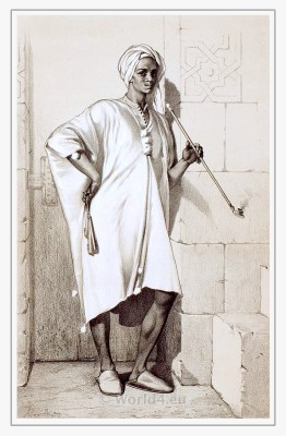 Traditional Egypt costume. Nubian dress. Arab clothing.