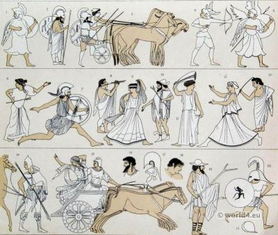 Ancient Etruscan costumes. Clothing of Etruscans Warriors, chariot, soldiers, musican. Auguste Racinet