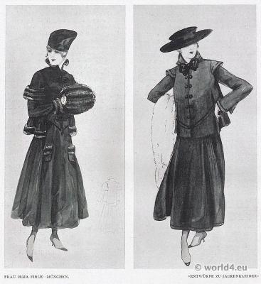Designs. jacket dresses. Mrs. Irma Firle costumes, Munich 1917. German Modernist fashion.