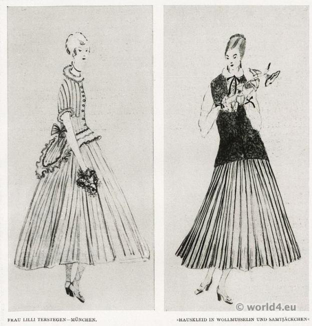 Munich fashion 1917. Costume Designer Lilli Terstegen fashion 1910s. German Modernist costumes.