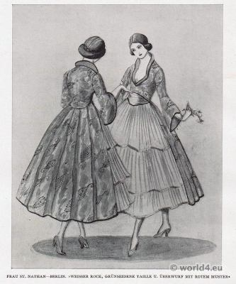 skirt fashion. Berlin fashion 1917. Designer Nathan fashion 1920s. German Modernist costumes.