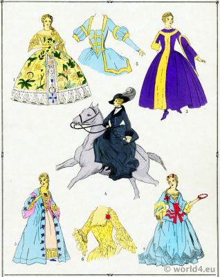 Gowns. Louis XV fashion. Rococo costumes. 18th century clothing