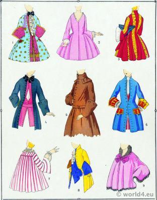 Louis XV Coats fashion. Rococo costumes. 18th century clothing