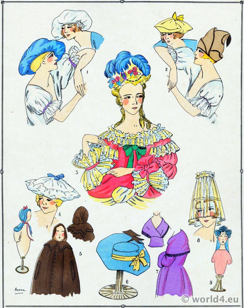 Rococo, fashion, Louis XV, Caps, hoods