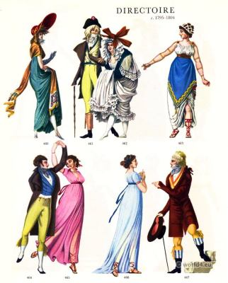 French Directoire costumes. Merveilleuse, Incroyable. Revolution dresses. 18th century fashion.
