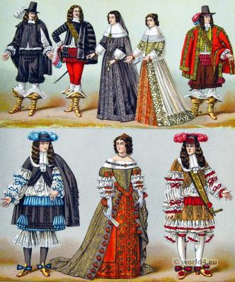 Louis XIV fashion. 17th century clothing. French Costumes of the nobility. Maria Theresa of Austria