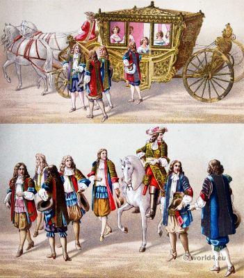 French Louis XIV and Maria Theresia Costumes. Baroque fashion. 17th century fashion.