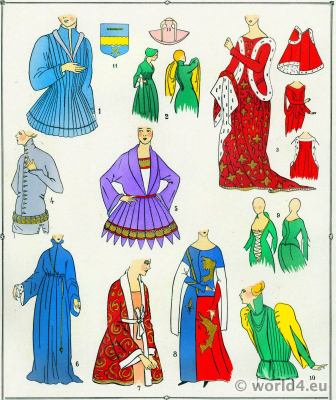 French Corsages fashion. 12th century costumes, 13th century costumes, 14th century costumes. French Middle Ages clothing