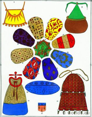 Middle Ages Fabrics design. 12th, 15th century fashion history.