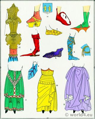Middle ages shoe design. 10th to 15th century fashion history.