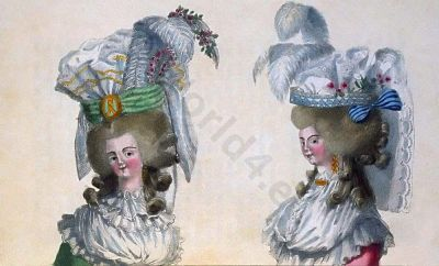 Leghorn Chips Headdresses, 1788 Paris. French Rococo costume. Hairstyle Hoop skirt. 18th century clothing