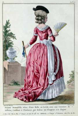 Robe à la Levité 1780. French Rococo costume. Hairstyle Hoop skirt. 18th century clothing