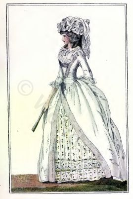Paris Fashion 1780. French Rococo costume. Hairstyle Hoop skirt. 18th century clothing