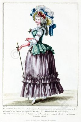 La Semillante Lise Couronne d'un Chapeau. French Rococo costume. Hairstyle. Hoop skirt. 18th century clothing