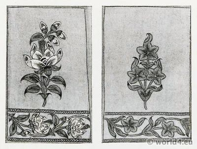 Plant Drawings. Indian Cotton Printers. Pattern Book. Traditional Indian fabrics. Textil design