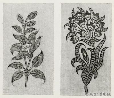 Plant Drawings. India Cotton Printers. Pattern Book. Traditional Indian fabrics.Textil design