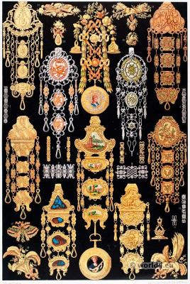 French Rococo jewelry 18th century. France nobility in Versailles.