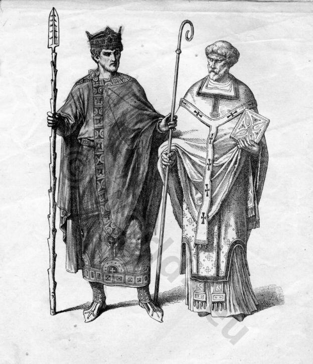 Emperor Henry II. 10th century dresses. Byzantine costume. German Carolingian dress.