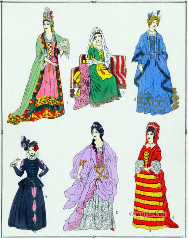 Robes, modes, Louis XIV, Costume Feminin, Francais,