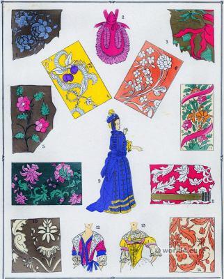 French fabrics baroque era. Louis XIV fashion. Drapery. 17th century clothing.