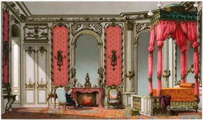 French Rococo Bedroom. Louis XV interieur. 18th century fashion and style
