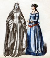 German princess and maid of honor. German middle ages clothing. 14th century costumes. Cotehardie