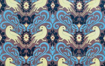 Medieval textil design. 15th century. Flemish Renaissance fabrics design
