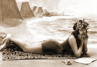 French beach fashion. Pin-up boho style fashion. Pin-up Girl swimwear