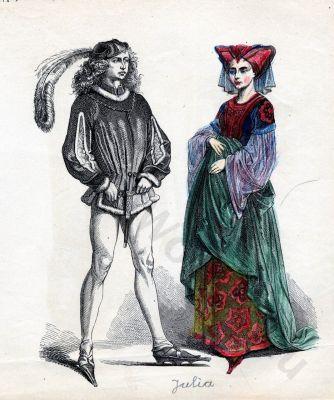 Gothic Burgundy Costumes. 15th century clothing. Medieval dresses. Burgundian fashion