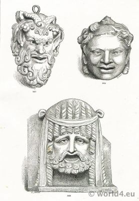 Ancient Art Greco Roman Pompeii Theatre masks. Satyr Performing masks.