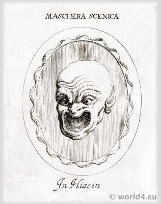 Maschera Scenica. Antique Roman Theatre Mask. Tragic Masks theatrical performing masks.