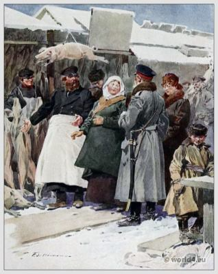 Traditional Russian costumes. Russia folk dress. Ethnic clothing. Meat Market