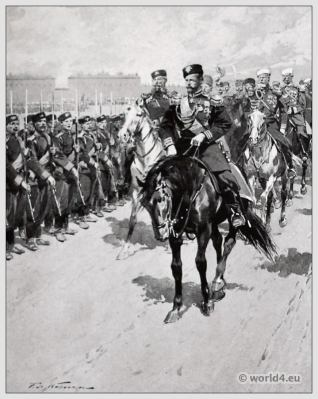 Traditional Russian costumes. Russia folk dress. Ethnic clothing. The Tsar reviewing his Troops