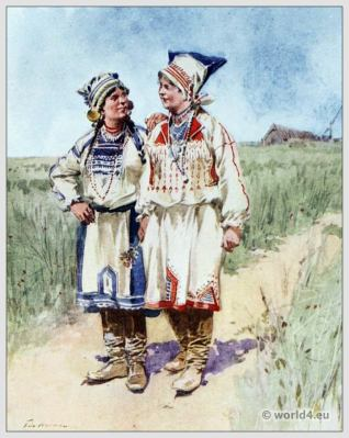 Traditional Russian costumes. Russia Peasants folk dress. Ethnic clothing.